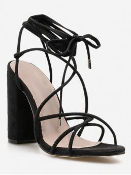 Summer Suede 11CM Rubber Solid Lace-Up Chunky Gladiator Daily Fashion For Ankle Wrap Strappy Chunky Heel Sandals