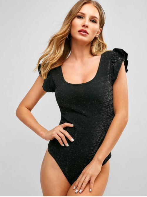 Summer Others Cap Scoop Cute Daily Ruffle Sleeve Glittering Snap Crotch Bodysuit