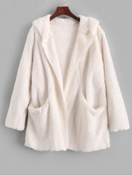 Autumn Pockets Solid Hooded Drop Full Long Wide-waisted Fur Daily Casual Solid Color Pockets Hooded Teddy Coat