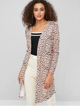 Autumn and Spring Elastic Leopard Collarless Full Regular Wide-waisted Daily Casual Curved Hem Open Front Leopard Coat
