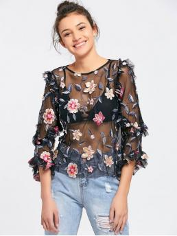 Autumn and Spring Embroidery Floral Three Regular Round Fashion Casual Mesh See Thru Floral Embroidered Blouse