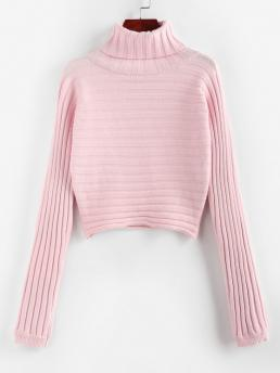 Women's Full Sleeve Pullovers Polyester Solid Ribbed Turtleneck Crop Jumper Sweater