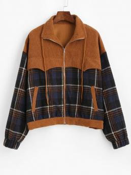 Full Sleeve Wide-waisted Polyester Patchwork Plaid Corduroy Jacket on Sale