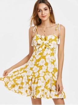 No Summer Floral Bowknot and Tassel Sleeveless Spaghetti Mini A-Line Casual and Vacation Casual Knotted Flower Print Cami Dress
