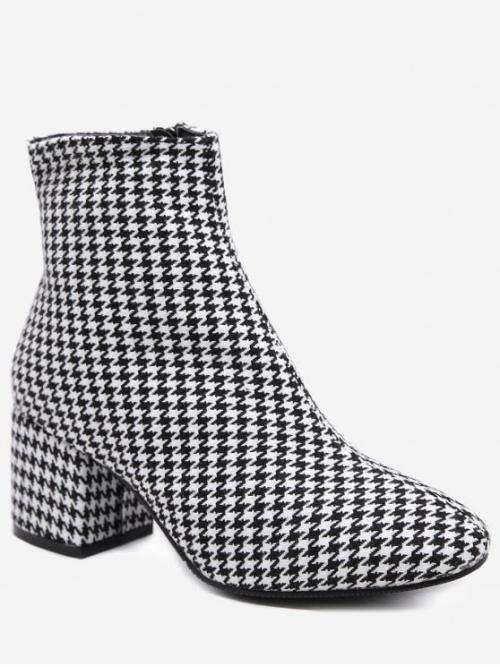 Suede Zip Print Chunky Round Ankle Spring/Fall Fashion For Houndstooth Chunky Heel Ankle Boots
