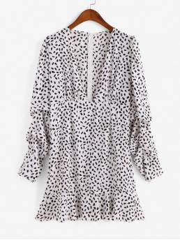 No Fall Print Ruffles Long V-Collar Mini A-Line Casual  Casual Dalmatian Dot Ruffles A Line Dress