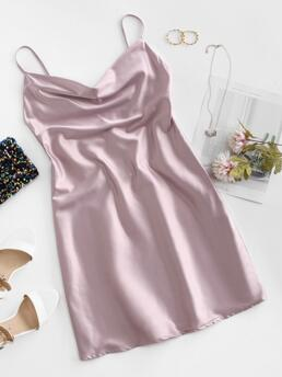 Lilac Solid Sleeveless Polyester Cami Cowl Front Satin Dress Sale