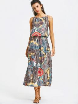 No Summer Print Sleeveless Spaghetti Ankle-Length A-Line Day and Vacation Fashion Elastic Waist Printed Maxi Dress