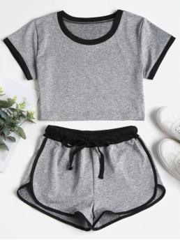 Summer Others Flat Drawstring Mid Short Crew Skinny Casual Beach Contrasting Binding Crop Top Shorts Tracksuit