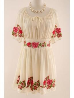 Spring and Fall No Floral 1/2 Round Mini A-Line Cute Half Sleeve Flower Embroidered Dress