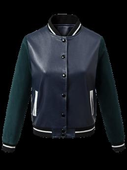 Fall and Spring and Winter Pockets Striped Stand-Up Full Wide-waisted Jackets Fashion Corduroy PU Leather Baseball Jacket