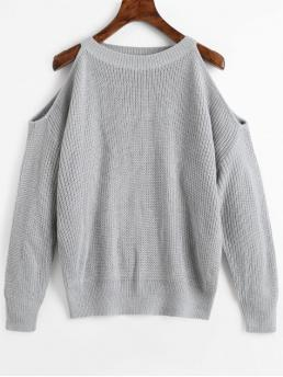 Full Crew Casual Pullovers Crew Neck Cold Shoulder Pullover Sweater