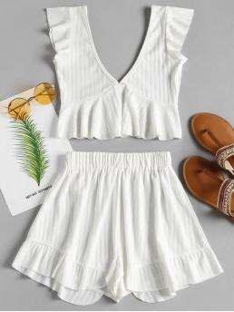 Summer Solid Pleated Elastic High Sleeveless V Straight Cute Beach Ruffle Peplum Top and Shorts Matching Set