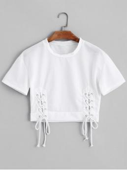 Summer Solid Lace Short Round Crop Fashion Short Sleeve Lace Up Cropped Top