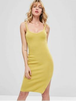No Fall Solid Sleeveless Scoop Knee-Length Sheath Casual and Day Brief Side Slit Sleeveless Knitted Dress