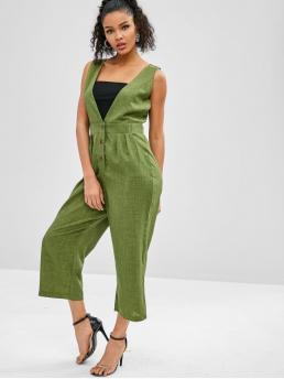 Fall and Spring and Summer No Solid Sleeveless Plunging Regular Elegant Going Wide Leg Sleeveless Plunge Jumpsuit