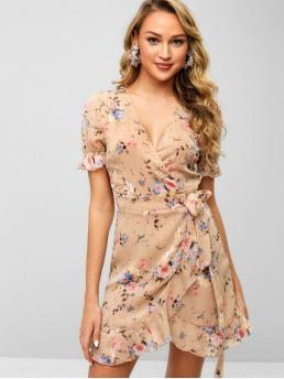 No Spring and Summer Floral Ruffles Short Plunging Mini Wrap A-Line Day Casual Floral Flounce Wrap Dress