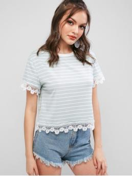 Summer Striped Short Round Regular Fashion Scalloped Crochet Panel Striped Tee
