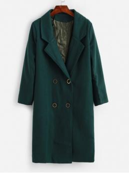 Autumn and Spring and Winter No Nonelastic Pockets Solid Double Lapel Full Long Wide-waisted Wool Daily and Going Fashion Seam Pockets Double Breasted Wool Blend Coat