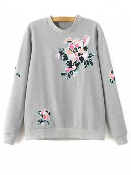 Fall and Spring Floral Fashion Full Regular Floral Pattern Grey Sweatshirt