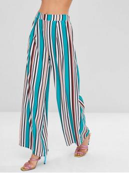 Fall Elastic Wide Normal Striped Pleated Loose High Fashion Colorful Striped Wide Leg Pants
