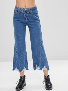 Fall Frayed and Ripped Regular Capri Destroy Fashion Frayed Hem Belted Ripped Jeans