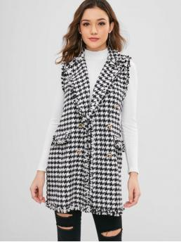 Frayed Standard Houndstooth Lapel Long Double Breasted Houndstooth Waistcoat