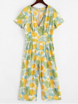 Summer No Floral and Leaf and Pineapple Nonelastic Short V-Collar Capri Regular Fashion Daily and Vacation Floral Leaves Pineapple Wide Leg Jumpsuit