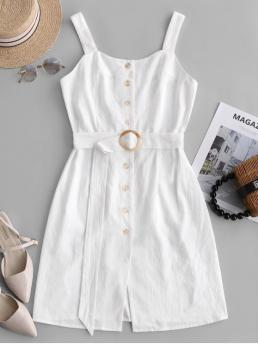 Yes Summer Solid Backless Sleeveless Square Mini Sheath Casual  and Day Fashion Square Neck Button Up Belted Dress