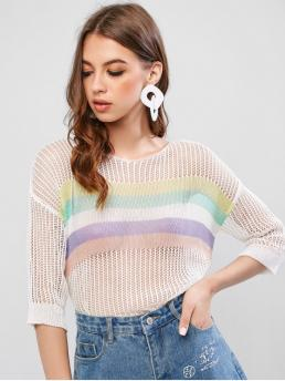 Autumn and Spring Striped Nonelastic Three Round Regular Regular Fashion Daily Pullovers Striped Drop Shoulder Openwork Pullover Knitwear
