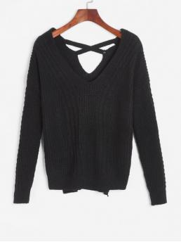Autumn Slit Solid Elastic Full Drop V-Collar High Loose Casual Daily Pullovers Slits Cable Knit High Low Sweater
