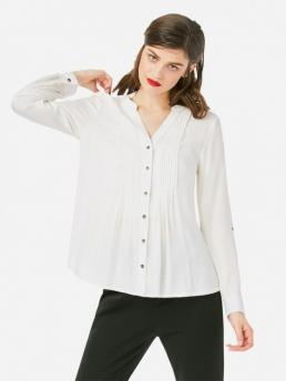 ZAN.STYLE Pleated Front Blouse