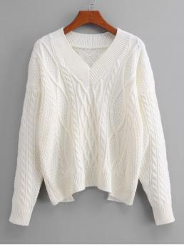 Autumn Cut Solid Elastic Full Drop V-Collar Short Loose Casual Daily Pullovers Cut Out Cable Knit Tied Sweater