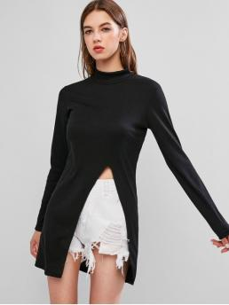 Autumn Slit Solid Elastic Full Mock Long Regular Fashion Daily Pullovers High Neck Side Slit Ribbed Knitwear