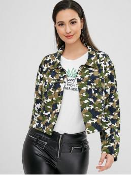 Full Sleeve Wide-waisted Polyester Camo Snap Buttonuflage Corduroy Jacket Ladies
