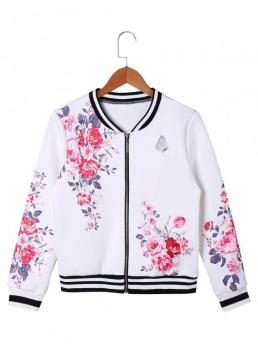 Fall and Spring Floral and Striped Stand-Up Full Wide-waisted Jackets Fashion Floral Zip Up Baseball Jacket