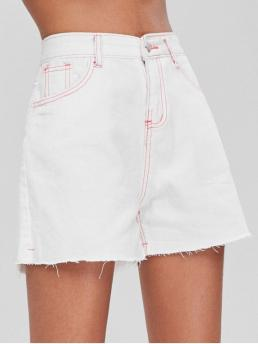 Summer Others Flat Zipper High Straight Streetwear Contrast Topstitching High Waisted Denim Shorts