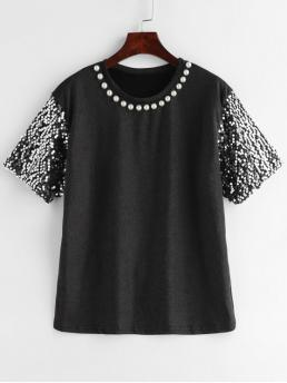 Others Short Crew Fashion Sparkly Sequin Sleeve Metallic Sheen Tee