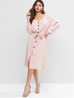 No Fall and Spring Solid Long Raglan Plunging Mid-Calf A-Line Day and Work Casual Raglan Sleeve Button Through Belted Dress