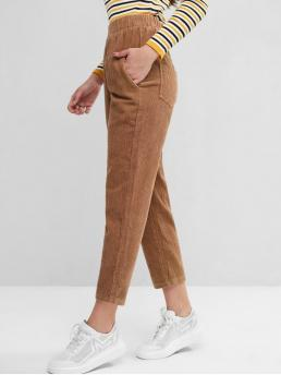 Fall and Spring Elastic Pencil Solid Regular High Casual Elastic Waist Pockets Corduroy Straight Pants