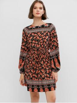 No Fall and Spring Floral Long Round Mini A-Line Casual and Vacation Bohemian Bohemian Floral Lantern Sleeve Mini A Line Dress