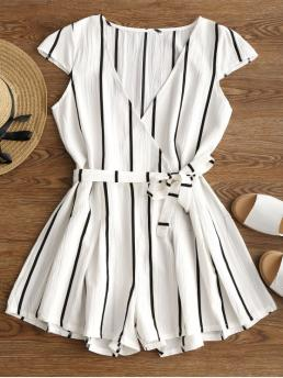 Yes Striped Loose Casual Plunging Neck Striped Belted Romper