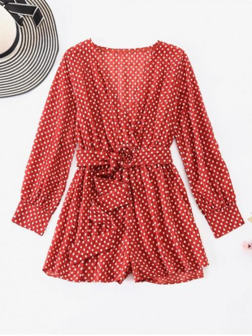 Fall and Spring Yes Dot Long V-Collar Regular Fashion Going Belted Dotted Surplice Romper
