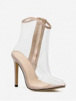 Trendy PVC Rubber Slip-On Solid 11CM Stiletto Pointed Ankle Spring/Fall Fashion For Sexy Transparent High Heel Short Boot