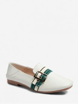 Fall and Spring Striped Daily Fashion PU Slip-On Square Closed For Slip-On Striped Accent Square Toe Slip On Flats
