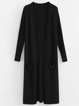 Autumn and Winter Pockets Solid Elastic Full Collarless Long Regular Casual Daily Pullovers Ribbed Sleeve Long Cardigan