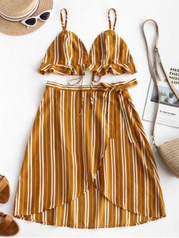 Summer Backless and Ruffles Striped Flat Tie High Sleeveless Spaghetti Asymmetrical Casual Casual and Going Striped Ruffles Top and Wrap Skirt Set