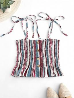 Summer Elastic Thin Striped Spaghetti Short Fashion Striped Tie Shoulder Smocked Cami Top