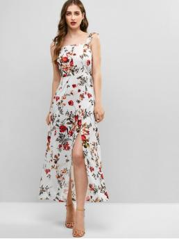 No Summer Floral Button and Ruffles and Slit Sleeveless Straps Ankle-Length A-Line Vacation Casual Floral Print Smocked Back Slit Dress
