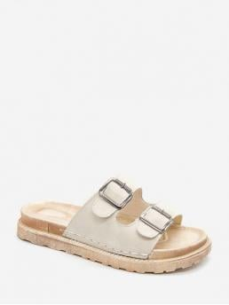 Summer PU 2CM Rubber Buckle Solid Slip-On Flat Slides Casual and Daily Leisure For Flat Double Buckle PU Slides